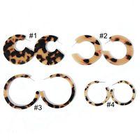 Envío gratis nueva simple leopardo marrón resina resina geométrica Sweet Stud pendiente, venta caliente elegante chica Stud pendiente