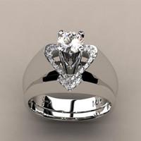 Новый творческий в форме сердца бриллиантовое кольцо женский Европейский и американский мода щедрый обручальное кольцо набор кольцо Оптовая