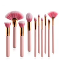 10pcs Pink Professional Makeup Brushes Set Foundation Powder...