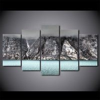 HD Printed 5 Piece Canvas Art Black and White Volcanic Mount...