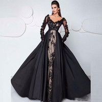 3D Floral Lace Long Sleeve Evening Pageant Dresses with Deta...