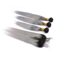 # 1B / Gri Ombre Perulu Bakire Saç Atkı 4x4 Dantel Kapatma ile Düz Ombre Gümüş Gri İnsan Saç Örgüleri 3 Demetleri Fırsatlar Arapsaçı Ücretsiz
