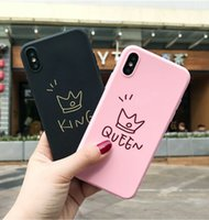 Moda Glossy Crown KING QUEEN Coppia Cassa Del Telefono Per iPhone X 6 7 7 Plus 8 8 Plus Carino Morbido TPU Lettera Copertina Posteriore Coque