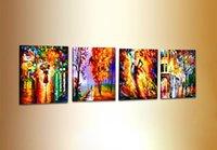 panel paintings modern knife painting landscape 4 panel wall...