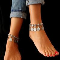 PearlPlus Vintage Boho Zincir Halhal Sikke Püsküller Plaj Kadınlar Için Hawaii Ayak Bileği Bilezik