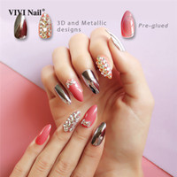 Silver Metallic Stiletto False Nails Press on Full Cover 3D ...