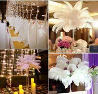 Großhandels100pcs / lot 6-24inch (15-60cm) weiße Straußenfedern für Hochzeitsmittelstück Tabelle Mittelstücke Partei Decoraction Versorgung