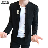 Chinese Collar Shirt Mandarin Collar Long Sleeve Solid Color Slim Fit Casual  Shirt Black Chinese Mannen Men