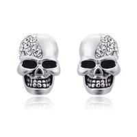 New Rhinestone Rock Punk Skull Crystal Tone Stud Earrings Fo...