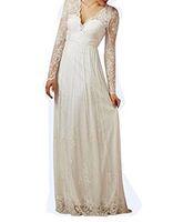 최신 디자인 여성 브이 넥 레이스 비치 웨딩 드레스 긴 소매 드레스 신부를위한 - 라인 웨딩 드레스