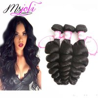 9A Malaysian virgin human hair weave loose wave natural colo...