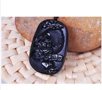 pietra di ossidiana naturale fatta a mano Pesce intagliato a mano con ciondolo in loto buona fortuna