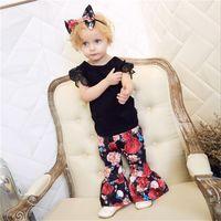 MIikrdoo 3PCS 여름 유아 아기 소녀 의류 복장 코튼 탑 셔츠 + 프릴 꽃 바지 + 머리띠 캐주얼 의류 세트