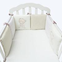 통기성 6Pcs / Lot 베이비 침대 유아용 침대에서 범퍼 뒤 쿠션 유아용 침대 범퍼 아기 침대 보호대 유아용 침대 범퍼 신생아 유아용 침대 침구 세트