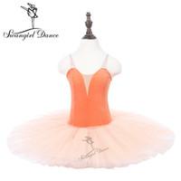 Mädchen Orange Ballett Trikots Tutu Kleid Kind Leistung Tanzen Üben Ballett Tutu Ballerina Röcke PPL18044C