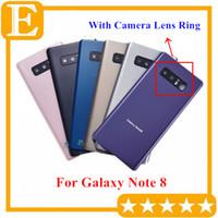 Batterie-Tür-Glasdeckel Gehäuse mit Kameraobjektiv + anhaftender Aufkleber installiert für Samsung Galaxy Note 8 N950 N950V N950A Bottom 10PCS