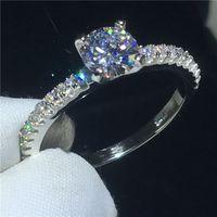Charm Lady bague en argent sterling 925 solitaire 0.5ct diamants Cz Stone Party bague de mariage pour les femmes mariée Fine Jewelry