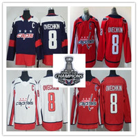 2018 Maglie Champions League Stanley 8 Alex Ovechkin 77 T.J. Oshie ice Hockey blu scuro maglie a righe bianche rosse