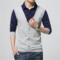 Tasarım Erkek Gömlek T -Shirt Erkekler Asya Plus Size 5XL için Sahte İki Uzun Kollu Sonbahar Yama Katı açın -Aşağı Yaka Pamuk Slim Fit Tişörtü