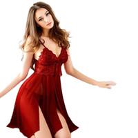 Sexy Lingerie Sous-vêtements pour femmes Babydoll Sleep Heightwear Robe de dentelle G-String Nightwear 54 # 1809143010