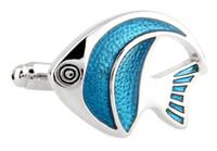 Животное морская рыба синий с белым покрытием стали запонки для мужчин