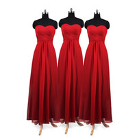 Gerçek Resim Kırmızı Uzun Gelinlik Modelleri Straoless Akış Şifon Allık Nedime Örgün Balo Ucuz Parti Bridemaid Elbiseler