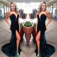 Hunter Green Velvet Sexy Backless Evening Dresses Mermaid Fo...