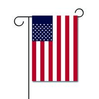 Оптовый изготовленный на заказ логотип цена по прейскуранту завода-изготовителя Декоративный на открытом воздухе 12кс18инчес связал флаг сада двойника полиэстера Американский с дизайном собаки