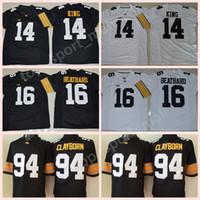 Özel Ad Numarası Iowa Hawkeyes Formalar NCAA Koleji Futbol 14 Desmond King Jersey 16 CJ Beathard 94 Adrian Clayborn Dikişli Siyah Beyaz