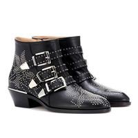 Celebridade Susanna Outono Inverno Sapatos Mulher Fivela Cinta Pedra Cravejado Rebite Ankle Boots Mulheres Empilhados Salto Bloco Motocicleta Botas Mujer