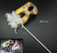 Hand Made Party Mask with stick Wedding Venetian Half face f...