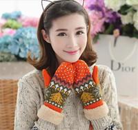 automne et hiver hiver Arbre de Noël avec velours épaississement tout compris Dames tricoté gants chauds en gros TO149