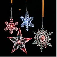 LED Transparent Snowflake Pentagram Bow Christmas Tree Plast...