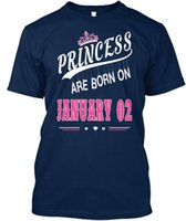 Princess Are Born On January 02 Standard Unisex T- Shirt (S- 5...