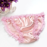 Wholesale Free Shipping Summer Pure Silk Ruffle Lace Bikini Style Panties Women Underwear Briefs Size M-XL
