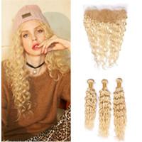 Blonde Brésilien Vague Vierge Cheveux Tissages avec fronteaux humide et onduleux # 613 13x4 Blonde Lace Frontal Fermeture avec offres 3Bundles