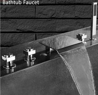 Sanitary Ware Bathtub Faucet Waterfall Spray Tap 3 Handle Co...