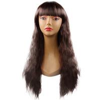 Modelos de explosión de Europa y América las mujeres pelucas peluca de cabello 25 pulgadas multi-color fija el pelo largo rizado pelucas de pelo sintético Productos bolsas