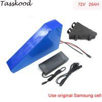 Samsung hücre için şarj cihazı ve çanta ile üçgen lityum pil 72V 25Ah elektrikli bisiklet pil 72V 3000W elektrikli bisiklet pil