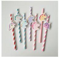 10PCS / Lot Unicorn carta paglia Carino Unicorno Colorful Cannucce per Baby Shower favore fai da te compleanno dei capretti / Wedding / decorazione del partito
