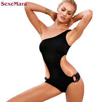 SexeMara Ring One Piece Swimsuit Solid One Shoulder Swimwear...