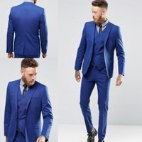 Tuxedos de mariage bleu royal Gaine Sui Costume Business Veste + Pantalon + Gilet Costumes pour homme One Buttons Groom Groomsmen Smoker's Party