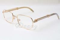 Nuevas gafas cuadradas gafas de altavoz blancas naturales 7381148 gafas para hombres y mujeres, se pueden equipar con lentes de miopía, gafas Tamaño: 56-21-135MM