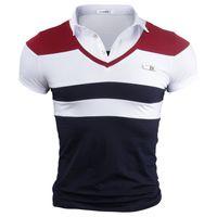 V-образным вырезом футболка для мужчин лето широкий полосатый с коротким рукавом тройники большой размер дышащий тонкий топы