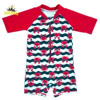 KAVAKS 소년 수영복 한 조각 반팔 수영복 만화 탄수화물 인쇄 소년 수영복 트렁크 아기 보이 비치 의류