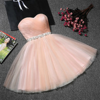 Sweetheart Tulle Short Bridesmaid Dresses with Crystal Sash ...