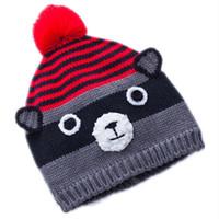 d7bfe261e55 Cartoon Anime cute raccoon Grizzly bear wool Cotton knitting winter Warm  plush hat kid baby Animals Soft Cosplay Cap Beanies pom