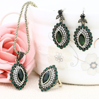 Vintage Turkish Jewelry Set Flower Pendant Antique Silver Pl...