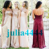 Burgundy Sparkly Sequins Bridesmaid Dresses with Sweet- heart...
