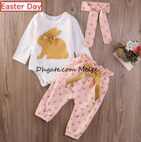 Easter day INS kids gold bunny rompers 3pcs suit Newborn Inf...